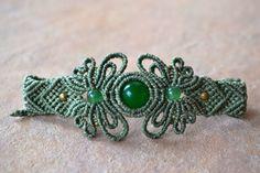 JADE/ Fiber Art Macrame Bracelet/ Sage green/ Dark Green Stone/ Fiber Art Jewelry/ Micromacrame/ Healing Stone/ Natural JewelryJa