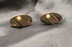 Gold Tone Oval Cuff Links with Faux Pearl by DresdenCreations, $12.00