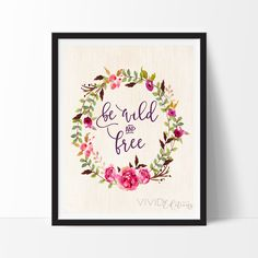 Be Wild and Free, Floral Wreath Boho Tribal Watercolor Art Print - VIVIDEDITIONS