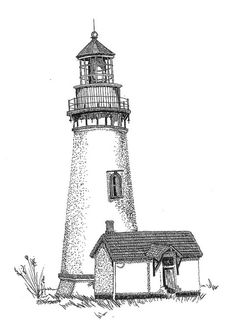 Ink Drawing Pen and Ink lighthouse - Nancy Lewin - Pen and Ink Lighthouse Drawing, Lighthouse Art, Ink Pen Drawings, Love Drawings, Pen Sketch, Pen Art, Drawing Techniques, Pyrography, Love Art