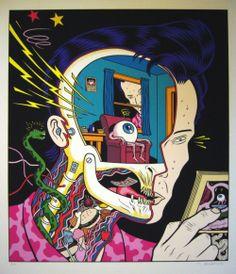 (via CHARLES BURNS SILK SCREEN PRINT, in PaulJanus Finnegan's PRINTED MATTER OF DREAM Comic Art Gallery Room)