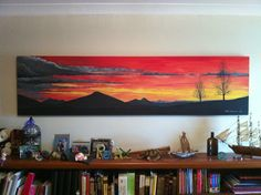 Red Sky at Night Painting Acrylic Canvas