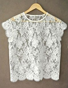Ivory Lace Top For Women, Short Sleeve, French Calais Lace Blouse, With Vintage Pearl Button, Ships Worldwide  Very Nice Quality and perfect blouse