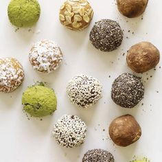 """These protein """"truffles"""" are so ridiculously easy that I feel somewhat silly adding them to this collection. Then again, my super-simple, silly recipes are often my most popular. They are certainly favorites in my repertoire, in large part because of their fast factor, but also because of their portability and candy-like appeal. Plus, they are endlessly customizable by varying the spices, extracts, and other add-ins, or by giving them a chic coating of chia seeds, cocoa powder, or chopped…"""