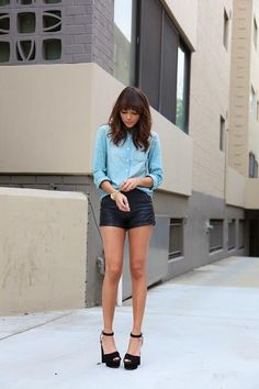 leather shorts, high heels and long sleeves. http://findanswerhere.com/womensfashion