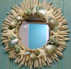 Tidepool blue seashell driftwood mirror.