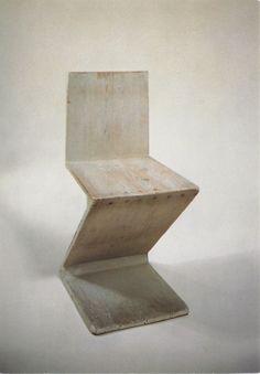 Gerrit Th Rietveld, Zig Zag Chair prototype, 1932 Chair Design, Furniture Design, Concrete Furniture, Furniture Chairs, Vintage Furniture, Creative Design, Modern Design, Muebles Art Deco, Art Nouveau
