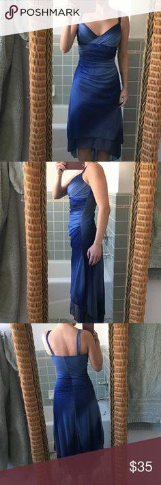 """Ruby Rox high low formal gown Size small blue sparkling evening gown.  Has padding in the bust.  Great condition.  Only flaw is some wear on the strap which is shown in photo.  I'm 5'2"""" for reference. Ruby Rox Dresses High Low"""