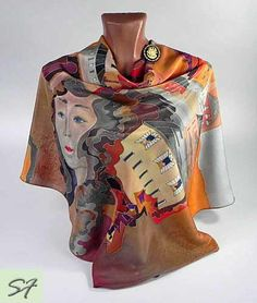 Square silk scarf, Brown Orange, Hand painted, Lady, Unique Women Birthday Gift…