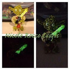 YODA now has his own light saber that glows. Designed and loomed by Nicole Rocco of Nicole Rocco Crafts. (Rainbow Loom FB page)