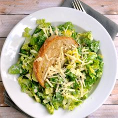 Chopped Caesar Salad with Crispy Capers and Giant Crouton - Pinch and Swirl