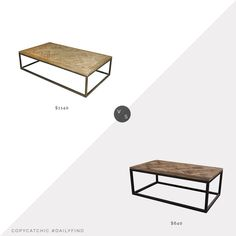 Daily Find: Kathy Kuo Stevenson Rustic Lodge Coffee Table vs. Wayfair August Grove Rouen Frame Coffee Table, parquet coffee table look for less, copycatchic luxe living for less, budget home decor and design, daily finds, home trends, sales, budget travel and room redos