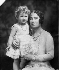 Queen Elizabeth (the Queen Mum) in 1930, with her 4-year-old daughter and future Queen, Elizabeth.