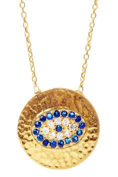 14k Gold Vermeil CZ Evil Eye Hammered Disc Pendant Necklace