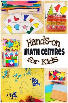 5 Hands-on math centres for young kids to practice various areas if math such as shapes and sorting. Free printables - Education and lifestyle Math Activities For Kids, Math For Kids, Fun Math, Math Resources, Math Games, Math 5, Lego Math, Numeracy Activities, Number Activities