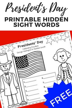 Download this fun Presidents' Day hidden sight words freebie. The perfect addition to any literacy station! See kindergartenchaos.com for ideas on how I use this product in my kindergarten classroom! #freebie #presidentsday #freeprintable #sightwords #kindergarten