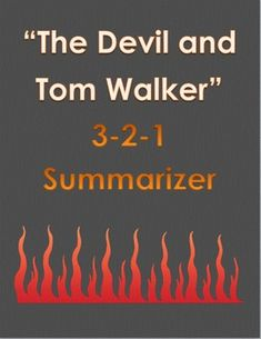 """This is an easy 2-to-a-page 3-2-1 summarizer for """"The Devil and Tom Walker"""" by Nathaniel Hawthorne. Teaching American Literature, Tom Walker, Nathaniel Hawthorne, Summary, Devil, Toms, Education, School, Easy"""