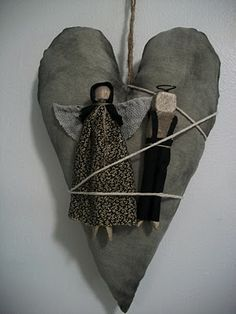 Our Pioneer Homestead: Primitive Craft Of The Day: Amish Peg Doll Lovers Heart