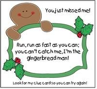 Gingerbread activities: FREE gingerbread hunt packet.