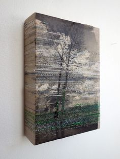 Trees - embroidery on paper and on canvas by Hinke Schreuders