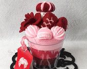 Rose Red Ice Cream Felt Cup with mini Hand-painted Card: Perfect Mother's Day Gift, Gift Box Included