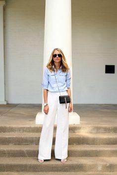 White Pants For Women Best Summer Looks 2019 Wide Pants Outfit, Summer Pants Outfits, Work Outfits, White Wide Leg Pants, Wide Leg Linen Pants, Wide Legs, White Dress Pants, Lauren, Overall