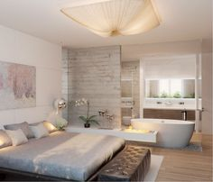 60 Awesome Open Bathroom Concept For Master Bedrooms Decor Ideas – Toptrendpin Modern Rustic Bedrooms, Rustic Bedroom, Bedroom Hotel, Small Master Bedroom, Master Bedrooms Decor, Bedroom With Bathtub, Open Bathroom, Bedroom With Bath, Master Bedroom Bathroom