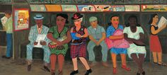 SUBWAY RIDERS, Ralph Fasanella (1914–1997) New York City 1950. Oil on canvas 28 x 60 in. American Folk Art Museum