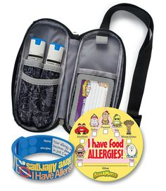 AllerMates Epi Auvi Case with I Have Allergies Wristband and 24 I Have Allergies Checkbox Stickers, Small