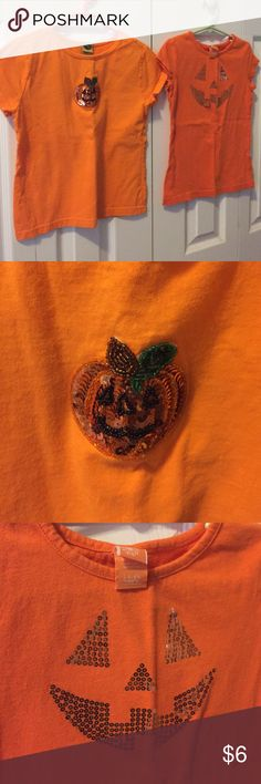 Halloween tshirts Two t-shirts! Worn once for Halloween! Pumpkin is a 7/8 and Pumpkin face is a size6/6x! Selling together! Shirts & Tops Tees - Short Sleeve