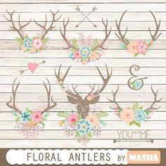 Floral antlers: Floral Antlers antler clipart by MashaStudio