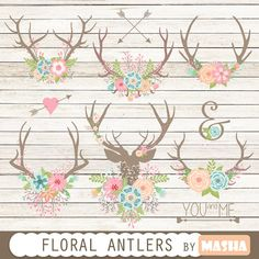 Floral antlers: Floral Antlers antler clipart by MashaStudio #clipart #scrapbooking #antler #wedding #floral #bouquets #arrows #rustic #wood #invitations #heart #downloads #vector #png