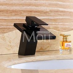 Oil Rubbed Bronze Faucet Modern Bathroom Sink Faucets Waterfall Mixer Tap Black Single Handle Glass Spout