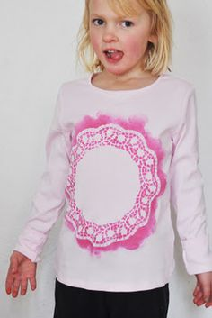 Oh so sweet!  Doily print on tees.  @ Lilla a Design.