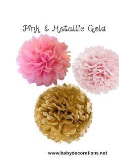 10 Pink and Metallic Gold Premium Tissue Pom Pom Set  Wedding, Princess Birthday, Baby Shower, Bridal Shower, Home Decor, Nursery & Party - http://www.babydecorations.net/10-pink-and-metallic-gold-premium-tissue-pom-pom-set-wedding-princess-birthday-baby-shower-bridal-shower-home-decor-nursery-party.html