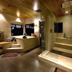 Bathroom Luxury With Elevated Bathtub And Travertine Shower Adorable Decorating Ideas That You Cannot Ignore House Design, Luxury Bathtub, Japanese Bathroom Design, Home, Luxury Homes, Luxury Interior Design, Bathroom Design Luxury, Bathroom Design, Bathtub