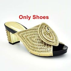 Add some glow and eye catch look in your style with this Nigerian women shoes and bag set decorated with rhinestone. Black Gold, Blue Green, Glow, Platform, Bra, Sports, Women, Style, Fashion