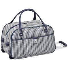 "London Fog Oxford Hyperlight 19"" Wheeled International Club Bag,... (2,115 EGP) ❤ liked on Polyvore featuring bags, handbags, navy houndstooth, london fog purses, navy oxfords, navy handbags, london fog and houndstooth purse"