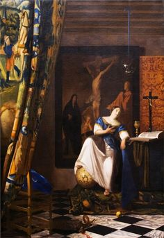 Allegory of the Catholic Faith Johannes Vermeer (Dutch, Delft Delft) Date: ca. Medium: Oil on canvas Dimensions: 45 x 35 in. x cm) The Metropolitan Museum of Art Johannes Vermeer, Baroque Painting, Baroque Art, Rembrandt, Art Du Temps, Vermeer Paintings, Art Paintings, Painting Art, Art History