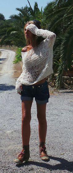 off shoulder ivory White boho sweater loose knit by ileaiye