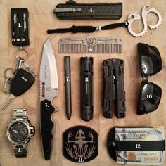 Knife, Multitool, Keychain, Watch, Wallet, Sunglasses, Comb, Knuckles, Flashlight, Tactical Pen - Everyday Carry