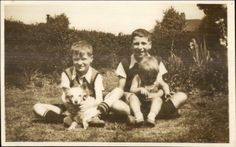Little Boys & Puppy Dog CUTE Real Photo Postcard