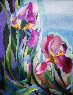 """Hand-embroidered silk-on-silk irises """"painting"""".  I'm completely in awe!"""