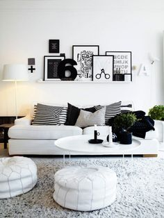 living rooms, new apartment, black and white room, lounge rooms, white rooms, white decor, black white, future room, white interiors