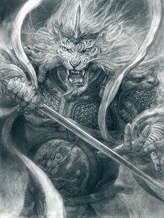 Art by Tianhua Xu* Angel Warrior, Fantasy Warrior, Warrior King, Character Art, Character Design, Lion Wallpaper, Fantasy Beasts, Lion Art, Lion Tattoo