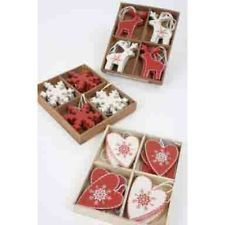 Shabby Chic Nordic WOODEN Christmas Tree Decoration - Heart or Snowflake