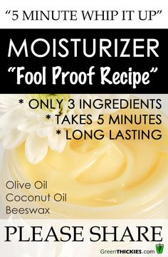 """Minute Whip It Up"""" Homemade Moisturizer for Dry Skin 5 Minute Whip It Up Moisturizer - a 3 ingredient fool proof recipe Homemade Moisturizer, Moisturizer For Dry Skin, Tinted Moisturizer, Oily Skin, Diy Lotion, Homemade Cosmetics, Peeling, Homemade Beauty Products, Lotions"""