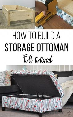 How to make your own DIY upholstered storage ottoman. Easy project with full step by step tutorial breaks down how to build a storage ottoman from scratch. This no sew project adds lots of storage in any living room. This cheap project is the perfect begi Woodworking Furniture, Woodworking Crafts, Woodworking Plans, Diy Furniture, Furniture Plans, Furniture Storage, Furniture Projects, Storage Stool, Woodworking Apron