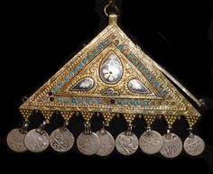 A lovely antique silver gilt temple hanging or pendent from Bukhara in Uzbekistan