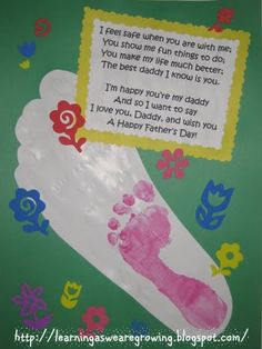 Learning As We Grow: Fathers Day Foot Print with Poem Craft - Easy for Toddlers and Babies!